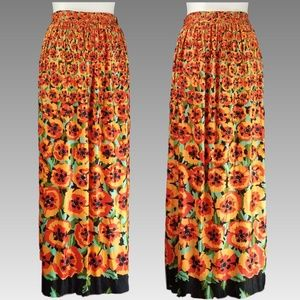 70's VTG Beverly Vogue Poppy Print Maxi Skirt SML